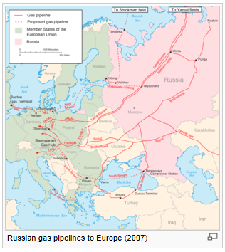 Russian gas pipelines to Europe 2007 small